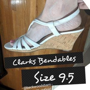 Clarks Bendables White Cork Wedges